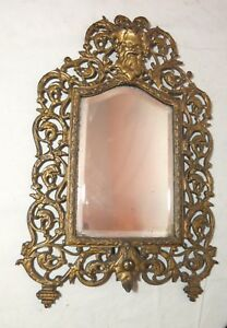 antique-ornate-figural-Bacchus-gilt-cast-iron-brass-wall-mount-mirror-sconce