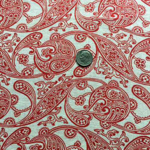 """Vintage Partial Feed Sack Delicate Red Paisley Design on White app 20/"""" x 18/"""""""