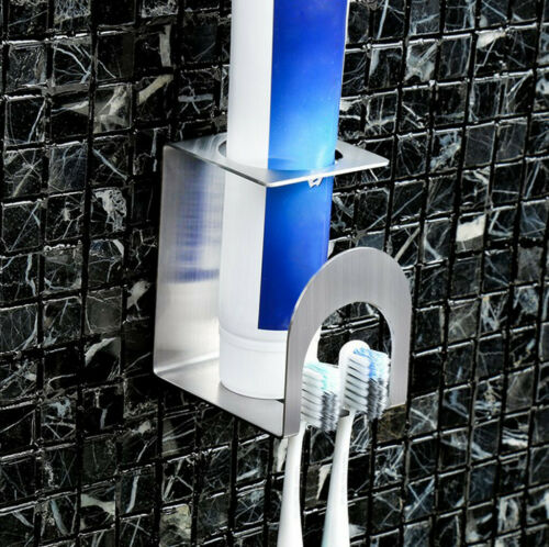 Stainless Steel Toothpaste Dispenser Toothbrush Holder Set Wall Mount Stand US