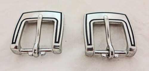Square Neat Jeremiah Watt Heel Buckles Smooth Grooved Horse Tack Stainless Steel