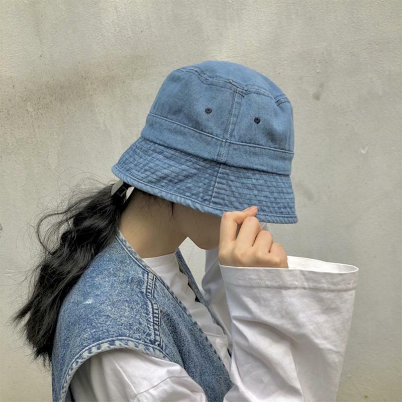 Japanese Unisex Vintage Washed Denim Bucket Hat Hip Hop Sunscreen Fisherman Cap