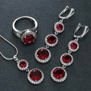 925-Silver-Jewelry-Set-Women-Red-Crystal-Pendant-Necklace-Drop-Earrings-Ring