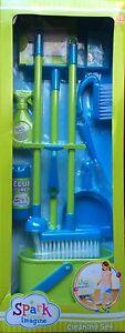 16pc kids CLEANING SET MOP BROOM Toddler Blue/Green Housekeeping Preschool Lot