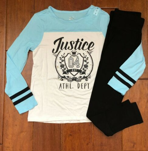 NWT JUSTICE Girls 10 Logo Football Tee /& Full Length Leggings Outfit