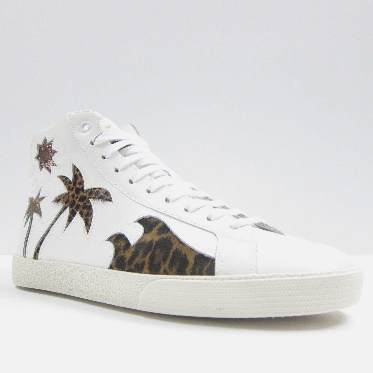 Scarpe casual da uomo  S-2245139 Nuovo Saint Laurent di Lana Bianco Ghepardo Sneaker Hi-Top Taglia