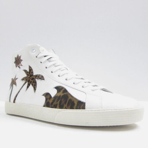 S2245139 New Saint Laurent Wolly White Cheetah Hitop Sneakers Size 43 US 10