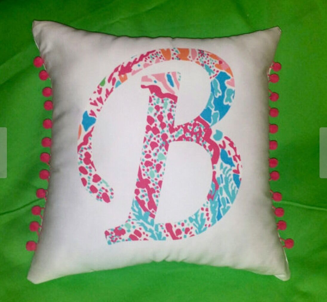 NEW Initial pillow made with LILLY PULITZER Let's Cha Cha By Garnet Hill fabric