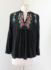 NWT Ann Taylor Loft Iced Floral Tab Sleeve Blouse  Top  $59.50  NEW  Black