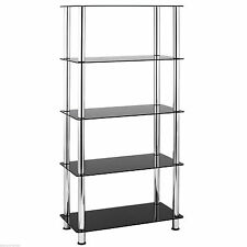 VonHaus 5 Tier Bookshelf Black Glass Shelving Unit Bookcase With Chrome Legs
