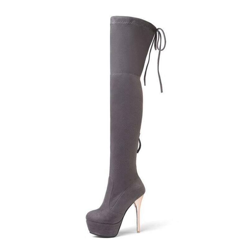 Donna Round Toe Pumps Suede Over Knee Long Stivali Elastic Elastic Stivali Suede Stilettos Sbox14 eed073