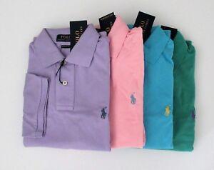 Polo Ralph Lauren Polo Shirt Sml Custom Fit Light Aqua With Purple Pony Mesh Polos