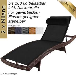 Details zu 2x Sonnenliege Gartenliege Liege Liegestuhl Strandliege  Polyrattan Rattan Braun