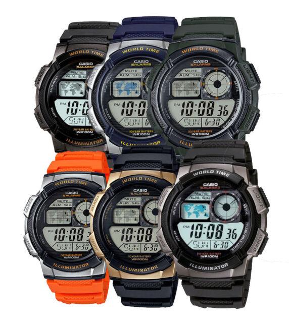 Casio AE1000W Men's Black Resin Band 5 Alarm Chronograph World Time Watch