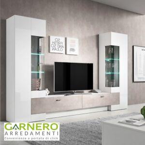 Dettagli su Parete attrezzata ROYAL mobile soggiorno bianco/cemento base tv  television