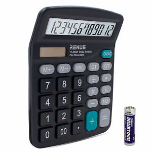 RENUS-Electronic-Office-Calculator-for-Solar-Battery-LCD-12-Digit-Large-Display