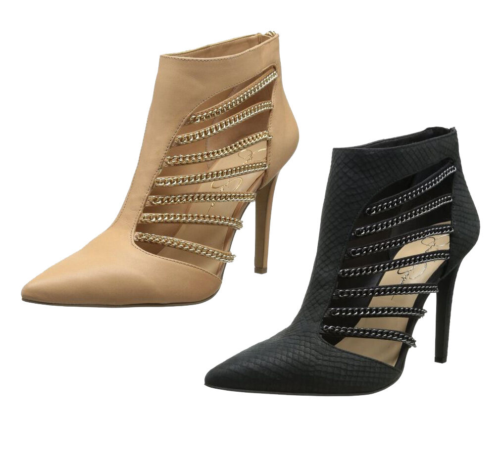 Jessica Simpson Women's Camelia High Heel Chain Cut Out Boot Booties