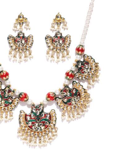 Indian Bahubali Kundan Set Earrings Necklace Tikka Traditional Handmade Fashion