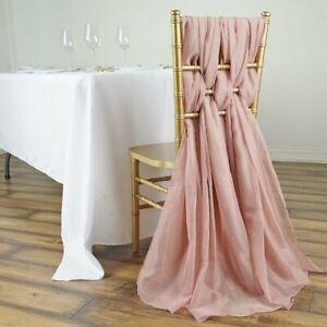 5 Dusty Rose Premium Chiffon Wide Chair Sashes Wedding Reception Decorations Ebay