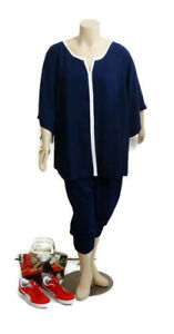 AUTOGRAPH Navy & White Bell Sleeve Relaxed Top | Plus Size: 26