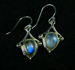 Amazing-925-Solid-Sterling-Silver-Fancy-RAINBOW-MOONSTONE-ANTIQUE-STYLE-Earrings