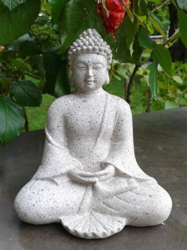 10 x Kleiner schöner Buddha Budda Figur Feng Shui Lotussitz Steingrau Neu 12 cm