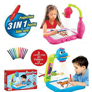 kids projector painting 3in1 play drawing board 12 water pen table