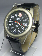 WENGER SWISS MILITARY DATE MENS WATCH BLACK  LEATHER BAND