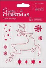 Papermania clear stamp set of 6 Create Christmas Reindeer stars snowflakes
