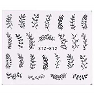 Nail-Art-Water-Decals-Stickers-Transfers-Black-Leaf-Flowers-Fern-Winter-812