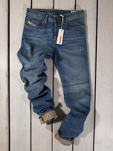 Rrp-174-Nuovo-Jeans-Diesel-Uomo-Buster-0837I-Regular-Slim-Tapered-Stretch-Blu