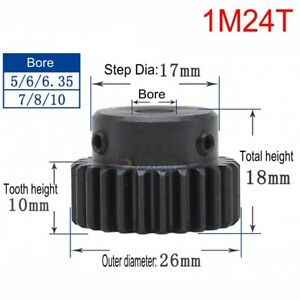 45# Steel Spur Motor Pinion Gear 1M24T Outer Dia 26mm Bore 5/6/6.35/7/8/10mm