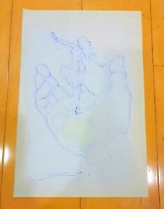 """SALVADOR DALI -WOMAN HAND- AUTHENTIC INK ON PAPER 13"""" x 8.5"""" DRAWING"""