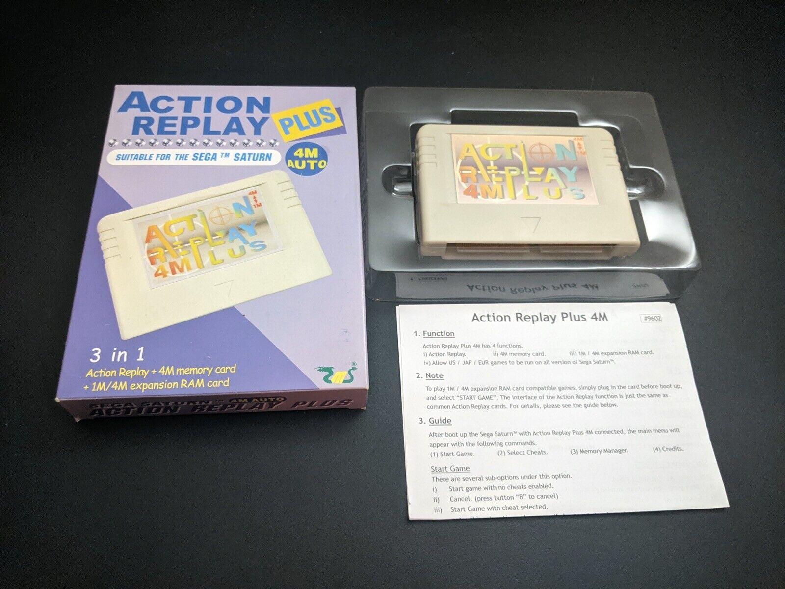 Action Replay Plus 4MB Sega Saturn Backup Memory Cartridge VG complete in box