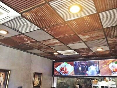 10pc 2/' X 2/' *40 sq ft  DROP CEILING TILES RECLAIMED CORRUGATED BARN ROOFING*