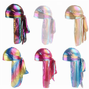 Men-Women-Silk-Laser-Polyester-Bandana-Hat-Durag-Rag-Tail-Headwrap-Headwear-Gift