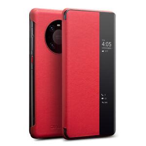Fuer-Huawei-Mate-40-Pro-QIALINO-Echt-Leder-Smart-View-Flip-Case-Cover-Schutzhuelle