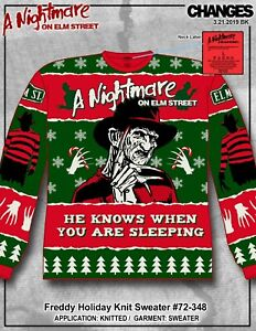 Details about Nightmare on Elm St Freddy Krueger Ugly Holiday Christmas Knit Sweater 72 348