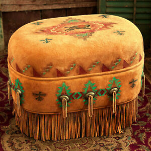 Details About Handmade Deer Suede Buffalo Ottoman 24 L X 18 H 16 W Native American Style