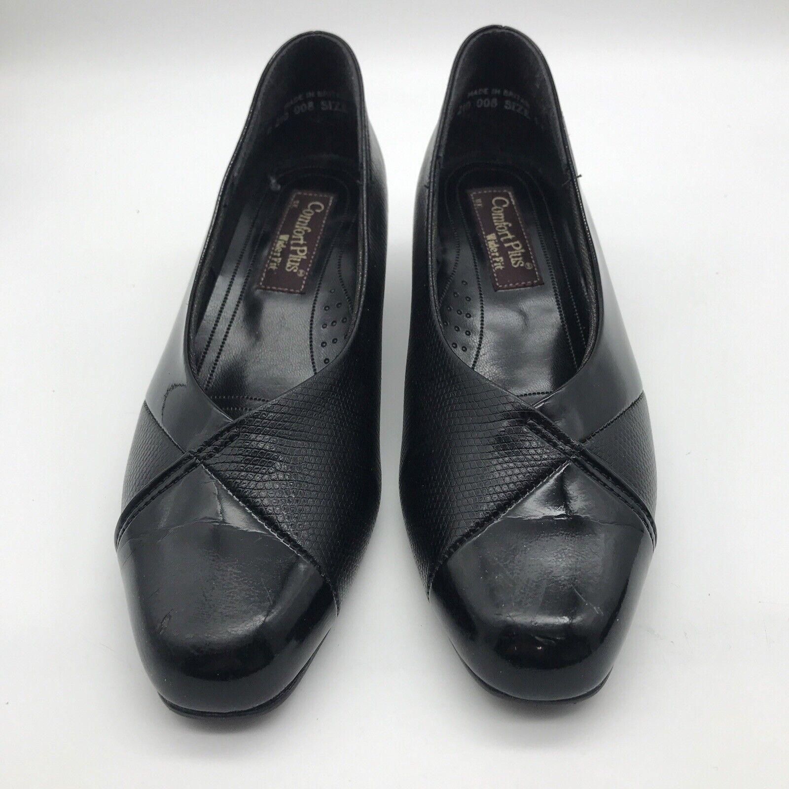 Comfort Plus NATALIE Black Patent Leather Wide Fitting Ladies Shoes UK 5.5 EU 39