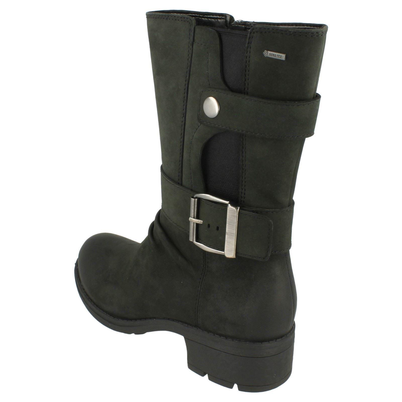 Clarks 'Mansi 'Mansi 'Mansi Tess GTX' Ladies Black Leather Biker Style Waterproof Boots D Fit 4bf383