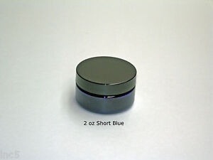 2 or 4 or 8 oz Short Cobalt Blue PET Plastic Containers Jars w/ Lined Cap