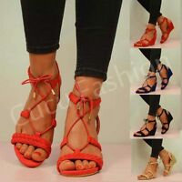 NEW WOMENS LADIES WEDGE LOW HEEL SANDALS ANKLE STRAP WEDGES SHOES SIZE UK 3-8