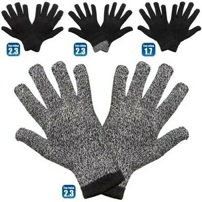 2 Pair of MensThermal Warm Heat Insulator Gloves Stretch Knitted 2.3 Tog