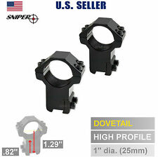 "1"" INCH Dovetail 3/8 Scope Rings, HIGH Profile Air Rifle .22 Rimfire US Seller"