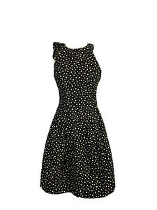 Cue Womens Size 6 Fit And Flare Midi Sleeveless Polka Dot Dress