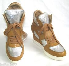 ASH - BASKETS COMPENSEES SNEAKERS CUIR CAMEL & ARGENT 37 - NEUF & BOITE