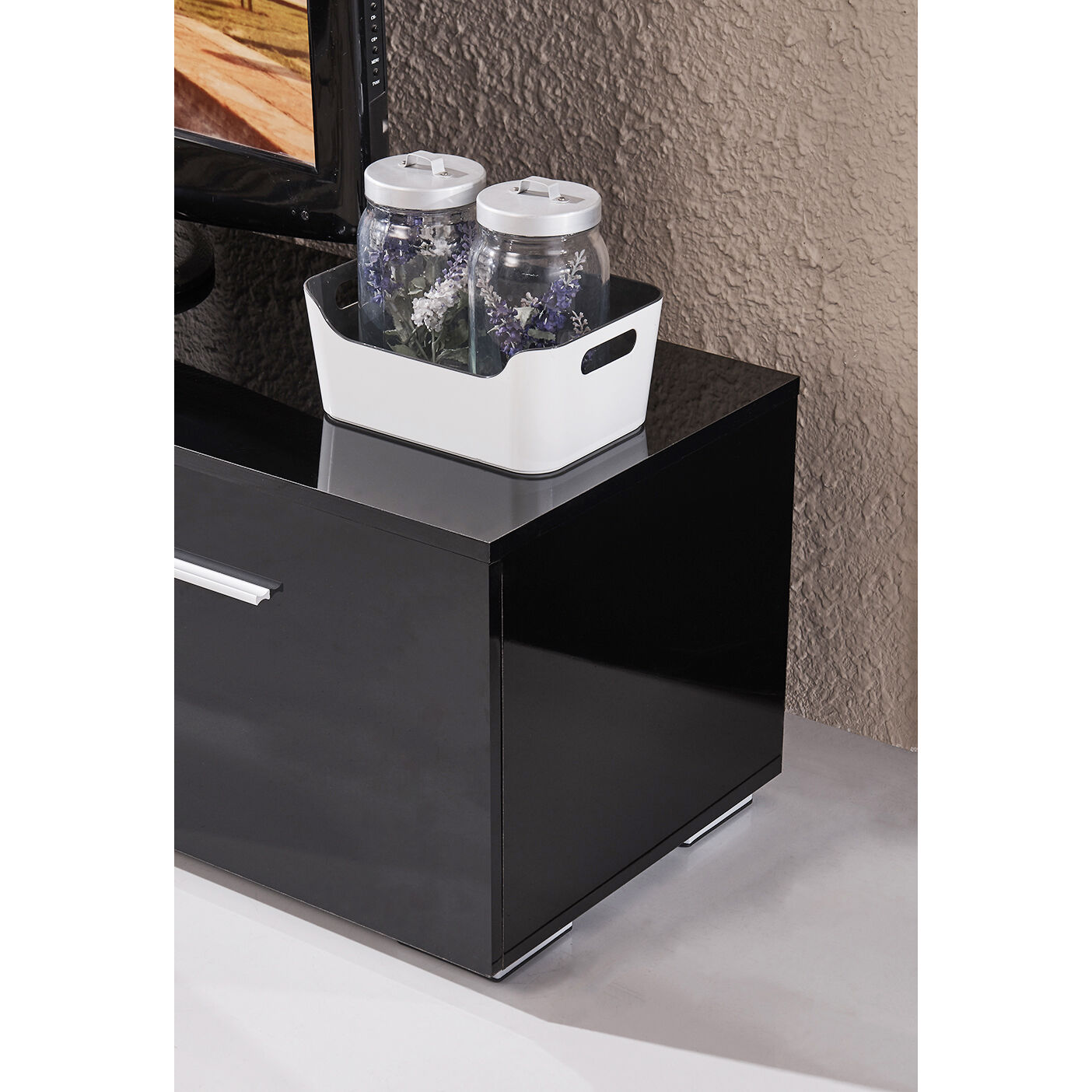 High Gloss Tv Stand Unit Cabinet Console Furniturewled Shelves 2