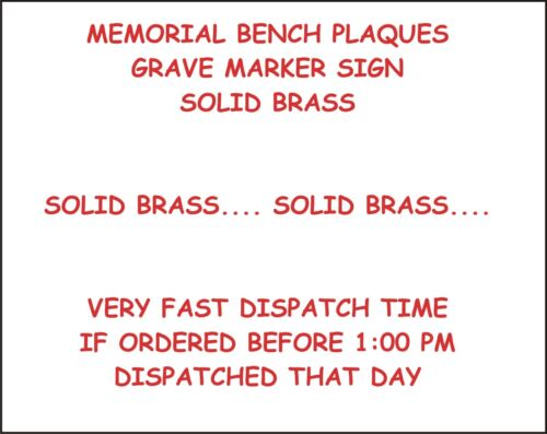 HIGH GLOSS BLACK SOLID BRASS MEMORIAL BENCH PLAQUE PERSONALISED SIGN 4 SIZES