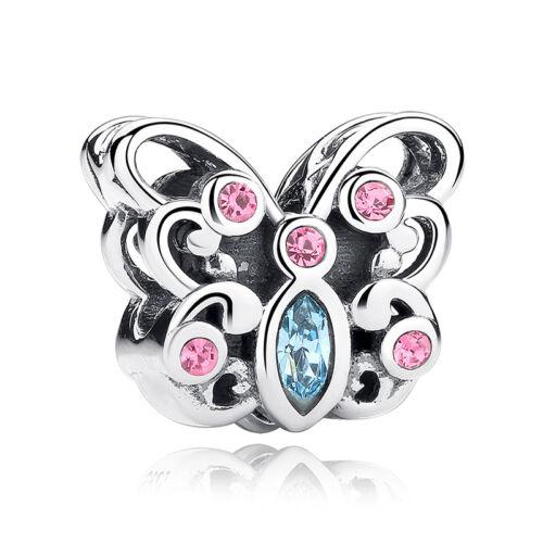Beau Papillon Dangle Cristal Bleu Argent sterling 925 European Charm Bead