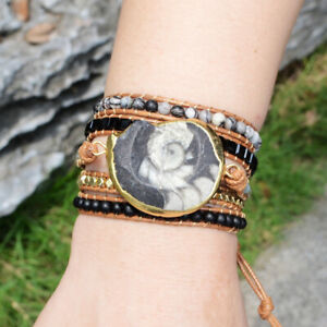 Details About Handmade Leather Wrap Bracelet Gold Ammonite Fossil Gemstone Uni Holiday Gift